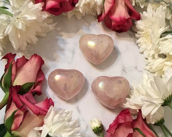 Small angel aura rose quartz heats