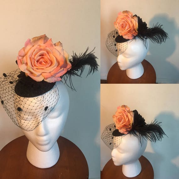 Gorgeous veiled fascinator hat -  pastel pink and