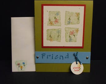 Handmade Blank Inside Friend Card
