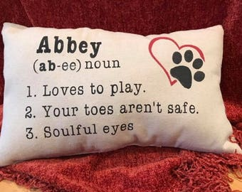 puppy pillow, puppy personality pillow, puppy love, personalized pillow, customized pillow, stenciled pillow, dog pillow,dog, pillow