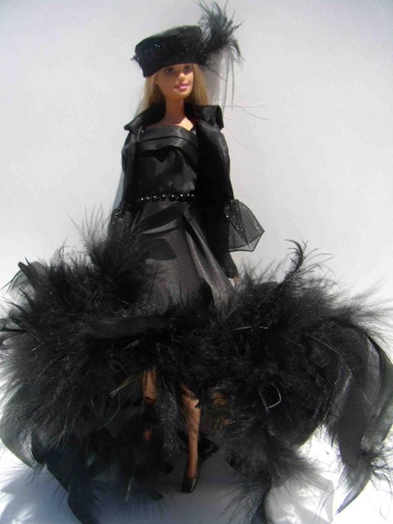 Robe de soirée B2-04-noir, veste et chapeau pour Barbie, Silkstone, Fashion Royalty, Poppy Parker & similaires 11.5'' à 12'' poupées de mode