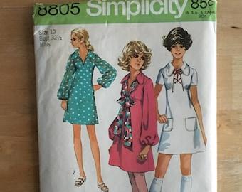 "Vintage misses mini dress pattern, lantern sleeves, short sleeve, collars, underbust gathering Simplicity 8805 Size 10 Bust 32 1/2"""