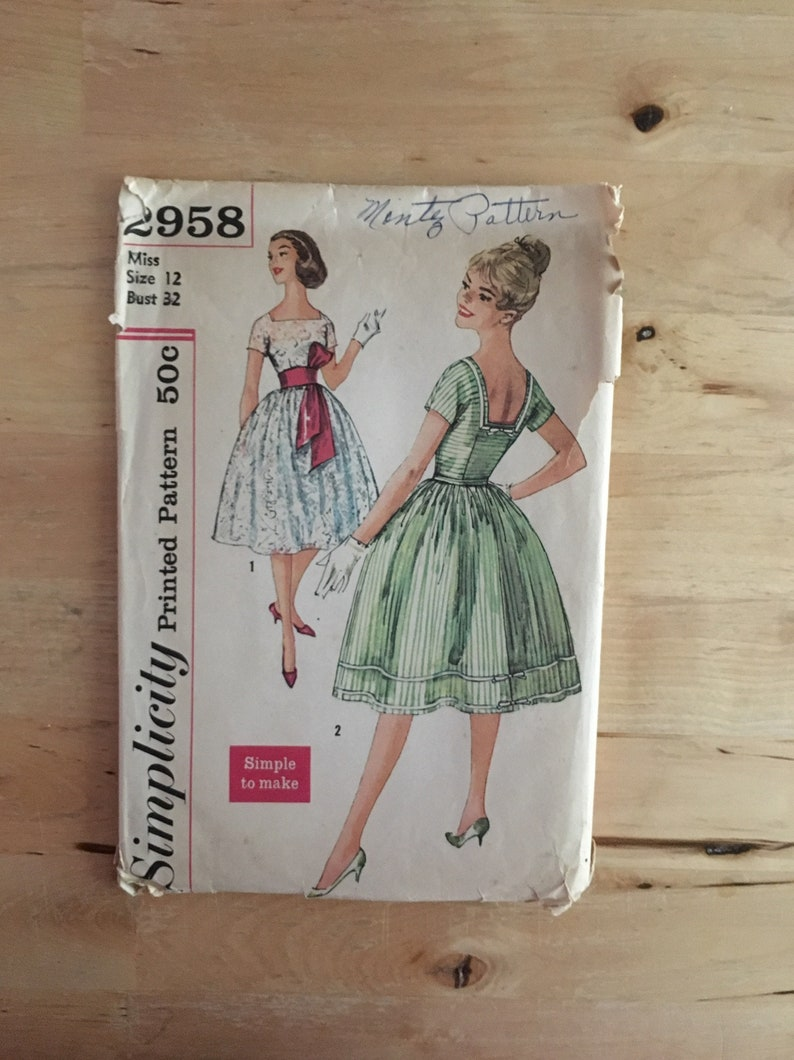 63480c09592 Vintage 1950 s Simplicity Pattern 2958 Misses  Dress