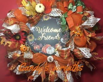 Welcome friends fall wreath