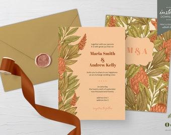 W001 Summer Wedding Printable Watercolor Cactus Wedding Invitation Succulent Wedding Invitation INSTANT DOWNLOAD Editable Template
