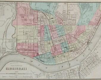 1855 Original antique Appleton/Colton map of Cincinnati