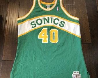AUTHENTIC Shawn Kemp MITCHELL NESS Seattle Sonics Basketball JerseyMen s 54 f7935d25a