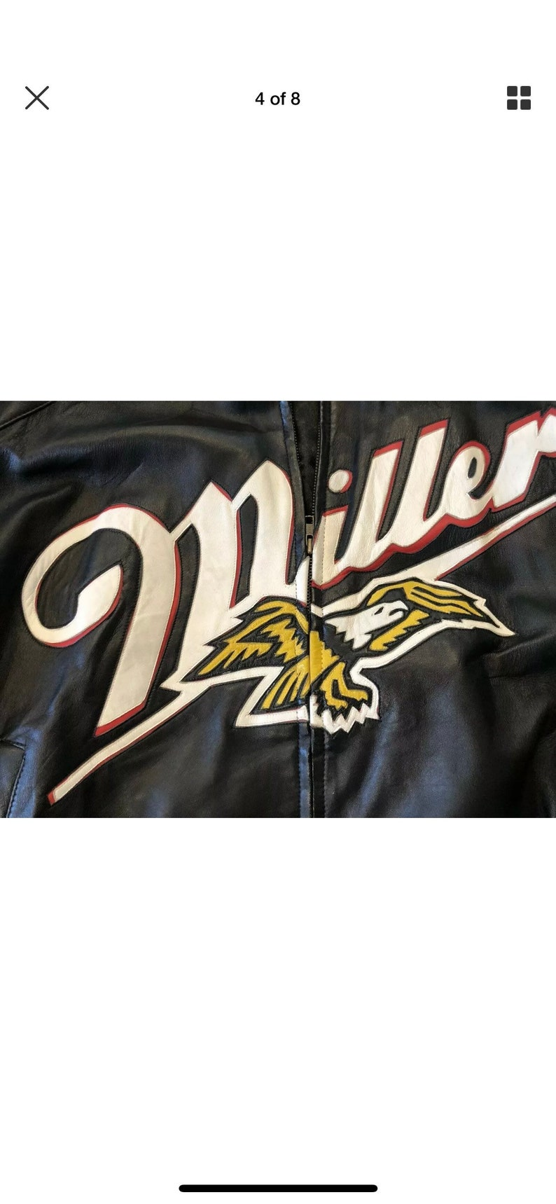 Rusty Wallace Miller Racing Leather Motorcycle Leather JacketMens XL