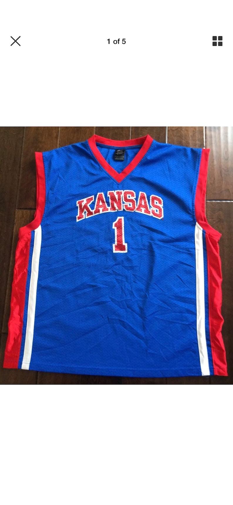 new style f012c e38e8 Vintage Starter KANSAS JAYHAWKS Basketball Jersey Mens 2XL