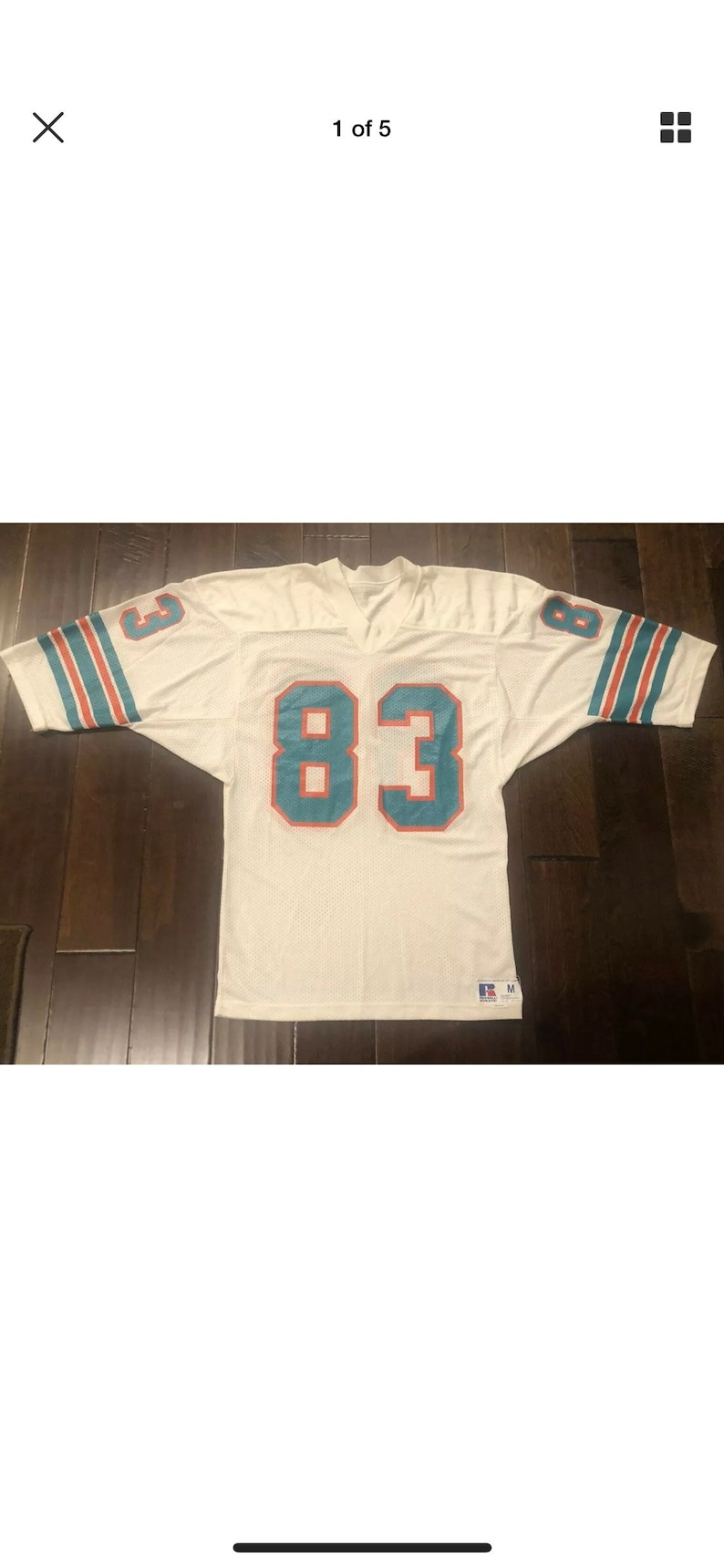 size 40 ba99a e12f8 Mark Clayton Miami Dolphins Russell Athletic White Football Jersey Men 38