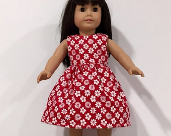 "18"" Doll Clothes, Red Dress made to fit American Girl Doll, Madame Alexander or other 18"" dolls"
