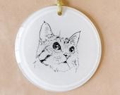 Pet Portrait Ornament, Round, Holiday, Christmas, Custom