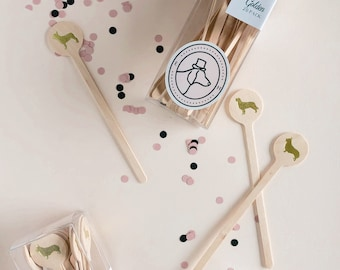 Dog Silhouette Drink Stirrers, Gold Foil on wood
