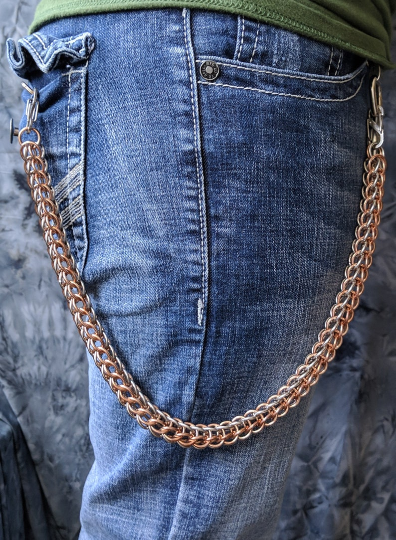 Stainless Steel /& Bronze Full Persian Chainmail Wallet Chain