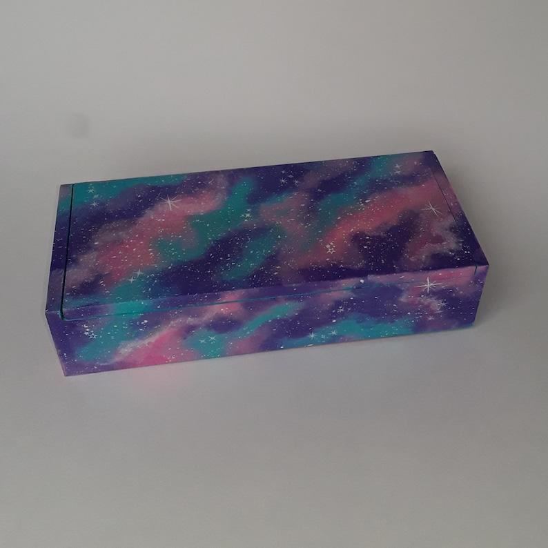 Hand painted galaxy jewelry box  cosmic space nebula wood trinket holder  stash boxes purple blue pink stars wooden keepsake storage