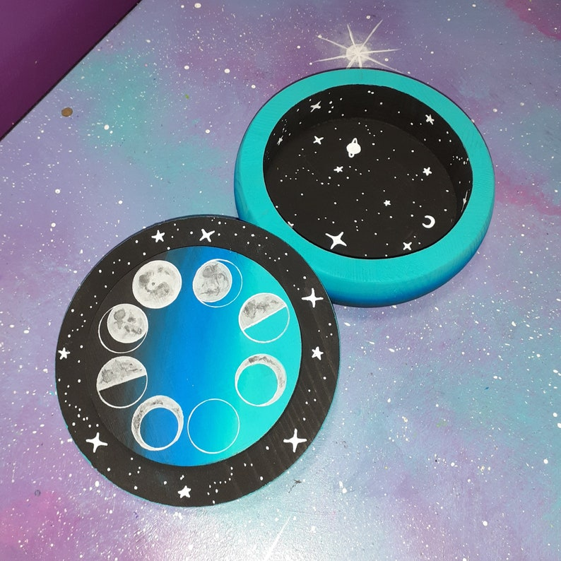 painted moon phases stash box  jewelry trinket tray galaxy space stars planets ombre  wood witch altar astrology