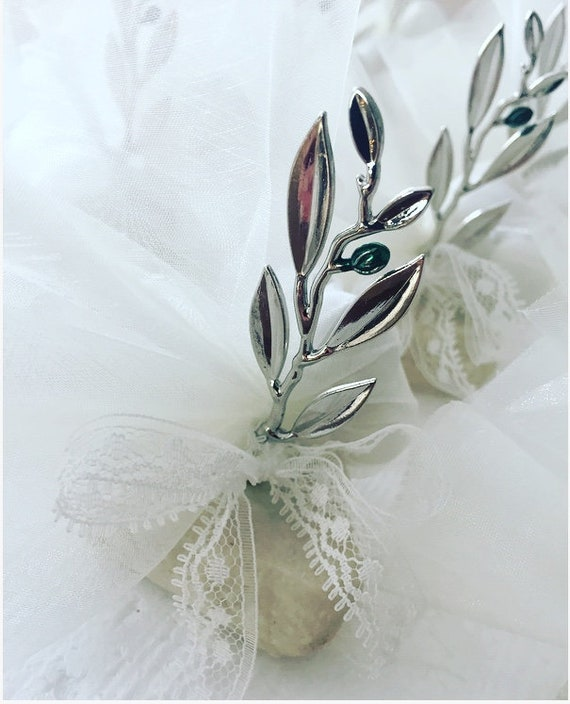 Wedding or baptism bomboniere with greek olive leaf in silver