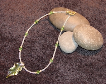 Soft Green, AB Clear Seedbeads 'Spring Leaf' Focal Bead Necklace in Gold~