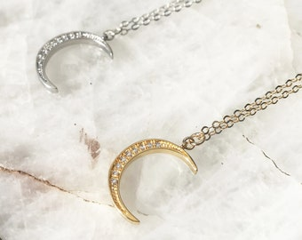 Dainty Silver Crescent Moon Necklace / Gold Fill Crescent Moon / Dainty Celestial Necklace / Delicate Silver Moon Necklace / Gifts For Her