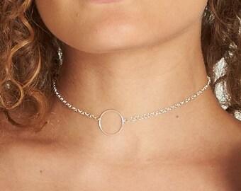 Silver Circle Choker / Silver Open Circle Choker / Silver Choker Necklace / Dainty Silver Necklace / Silver Layering Necklace