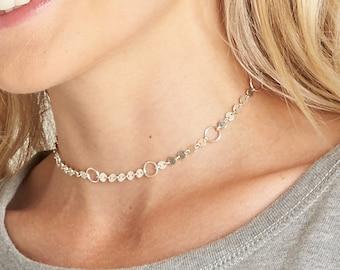 Silver Coin Circle Choker / Silver Disc Open Circle Choker / Sequin Choker Necklace / Dainty Silver Necklace / Silver Layering Necklace