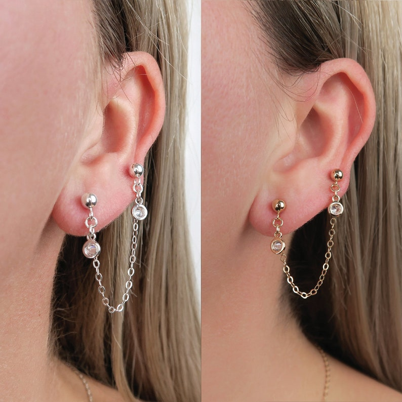 Gold Fill Connected Earrings / Silver Post Stud Earrings / Cz image 0