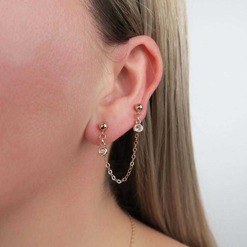 Gold Fill Connected Earrings / Gold Post Stud Earrings / Cz image 0