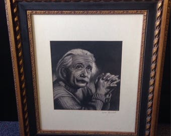 Albert Einstein charcoal drawing - original