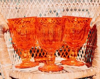 Gorgeous Fire Orange Wine Goblet Set