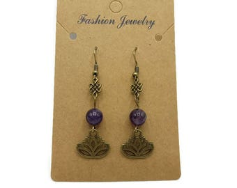Semi precious amethyst, Chinese lotus flower and bow earrings bronze gift women - Made in France - B086