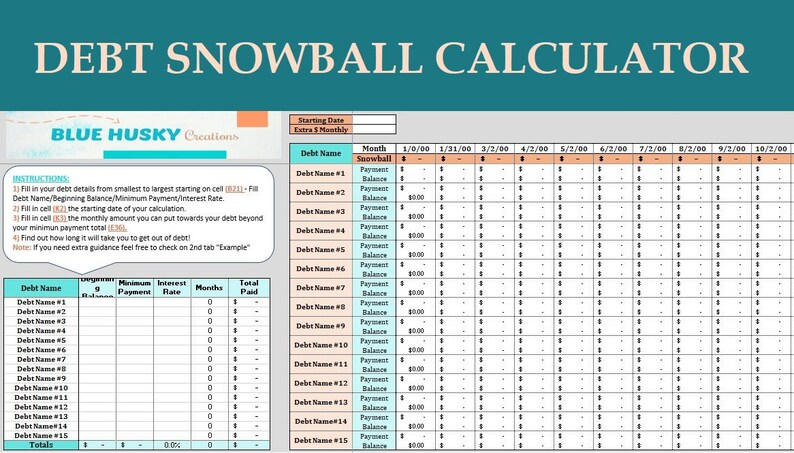 debt snowball calculator digital excel planner spreadsheet