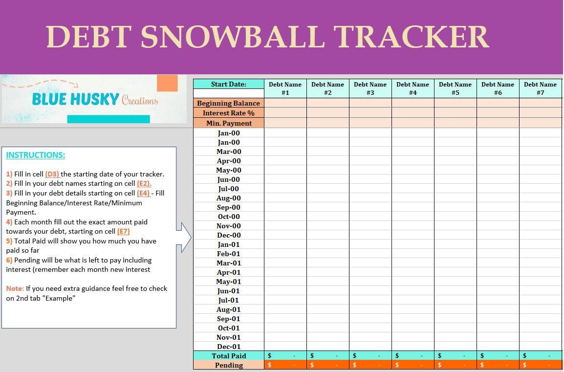 debt snowball tracker digital excel payoff spreadsheet etsy. Black Bedroom Furniture Sets. Home Design Ideas