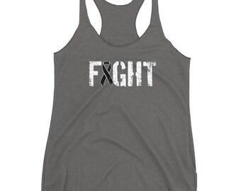 Fight Melanoma - Skin Cancer - Melanoma Awareness - Melanoma Cancer Survivor - Black Ribbon - American Flag Women's Racerback Tank Top