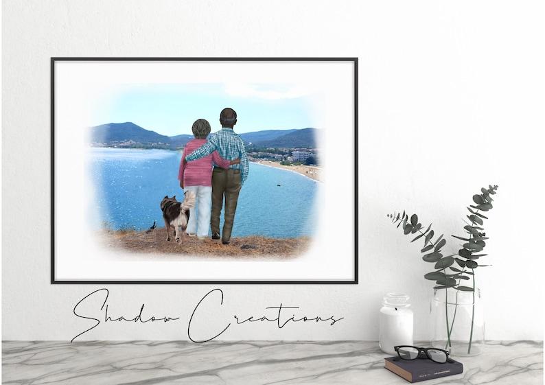 Custom Grandparents senior pet family portrait digital file print
