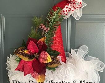 Christmas Hat Wreath, Christmas Door Wreath, Christmas Hat, Santa Hat Wreath, Christmas Santa Wreath, Santa Hat Door Hanger