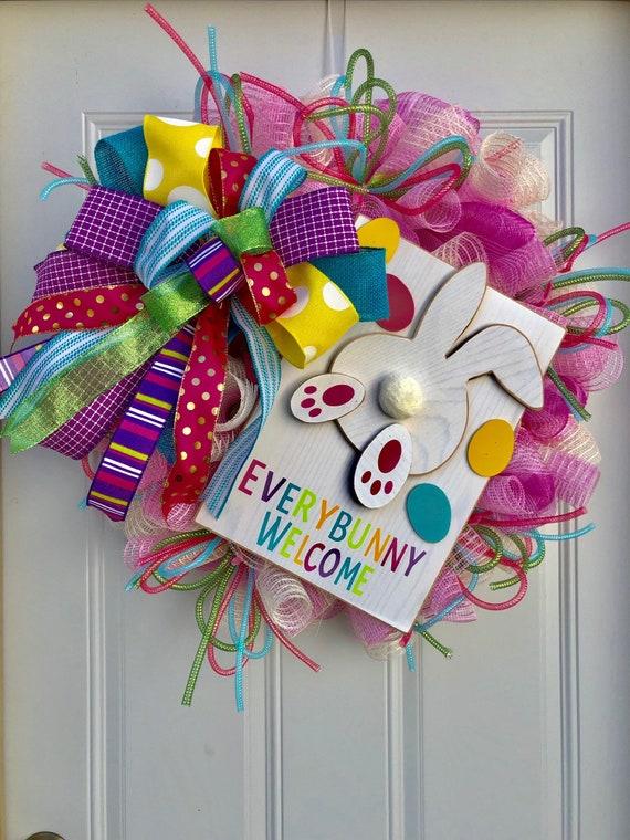 Easter Door Wreath Pink Purple Turquoise Spring Welcome Wreath Easter Bunny Door Wreath