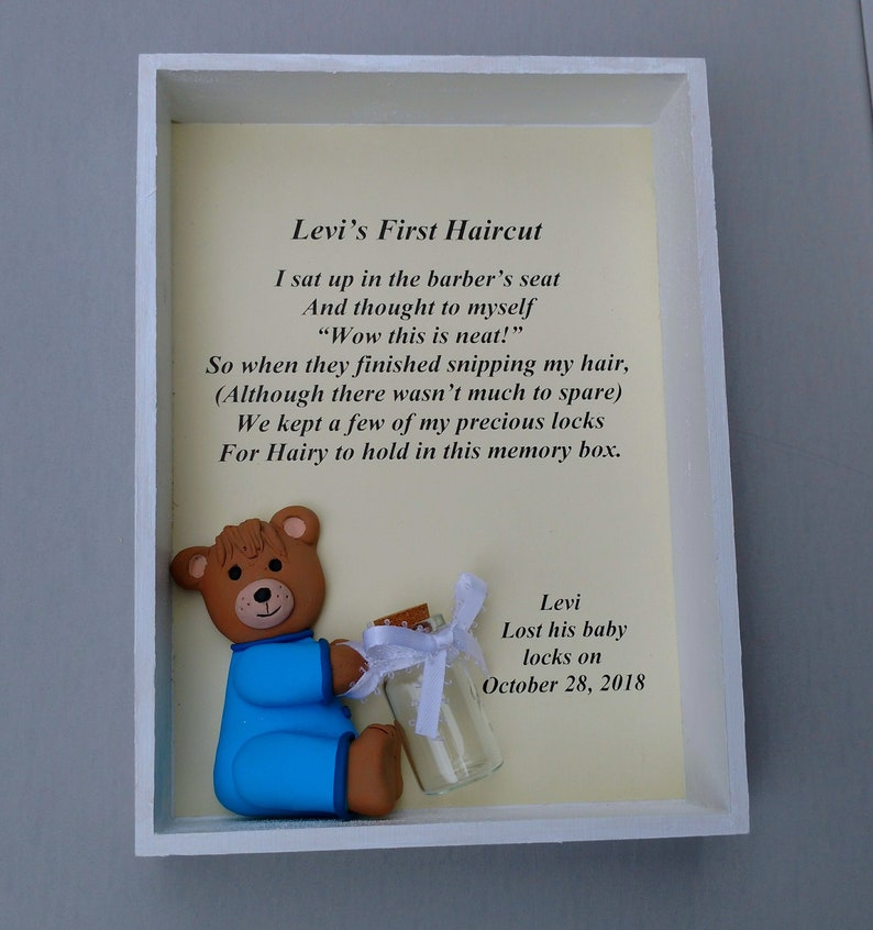 4e7e551dfd9a Personalized Babys First Haircut Keepsake Baby Shower Gift