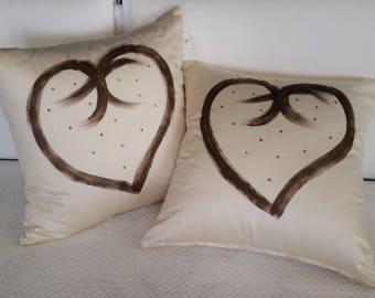 Pillow Furniture heart and rhinestone cream Naeem Chic