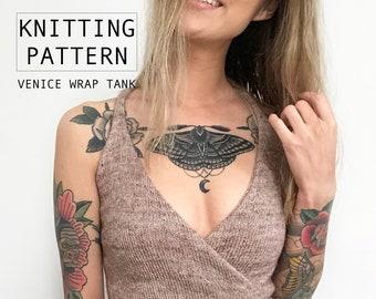 KNITTING PATTERN || Venice Wrap Tank | Knit Racerback Cropped Wrap Tank with Ties | Summer Festival Knitwear | Beginner Friendly