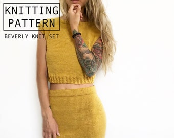 Knitting Pattern | Beverly Knit Set | Knit Top and Skirt Set | Co-ord Set