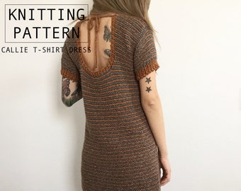 KNITTING PATTERN || Callie T-shirt Dress || Knit Sweater Dress || Retro Striped Dress