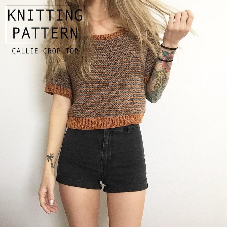 KNITTING PATTERN  Callie Crop Top  Knit Shirt  Knit image 0