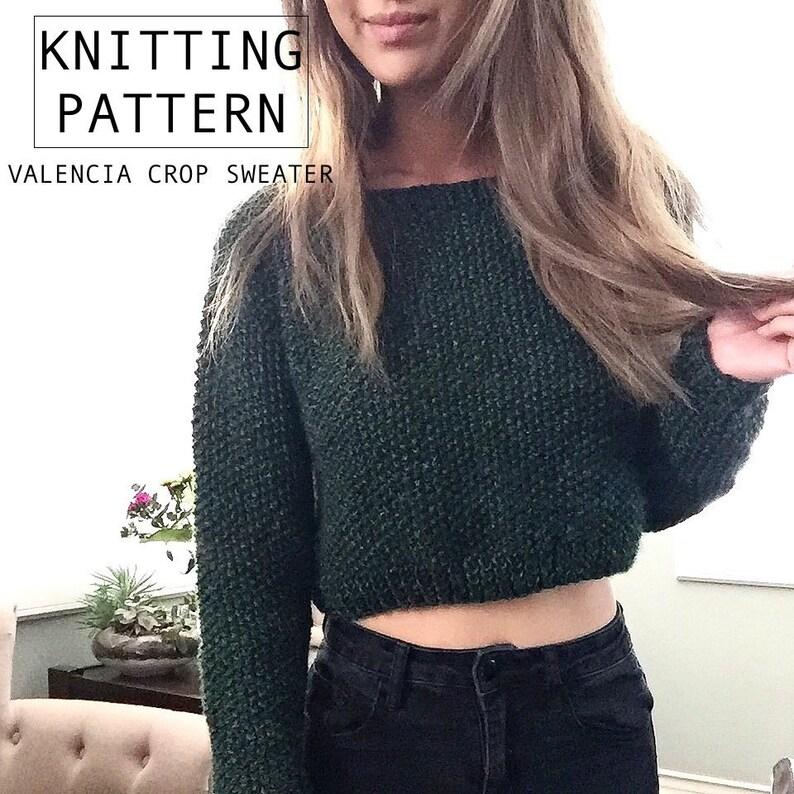 797eb4711 Knitting Pattern Valencia Cropped Sweater Knit Jumper