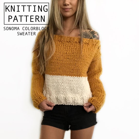 Knitting Pattern Chunky Sweater Colorblock Off The Etsy