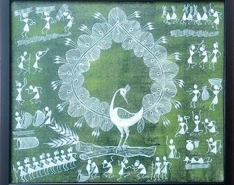12 by 12 wrapped canvas Traditional warli folk art