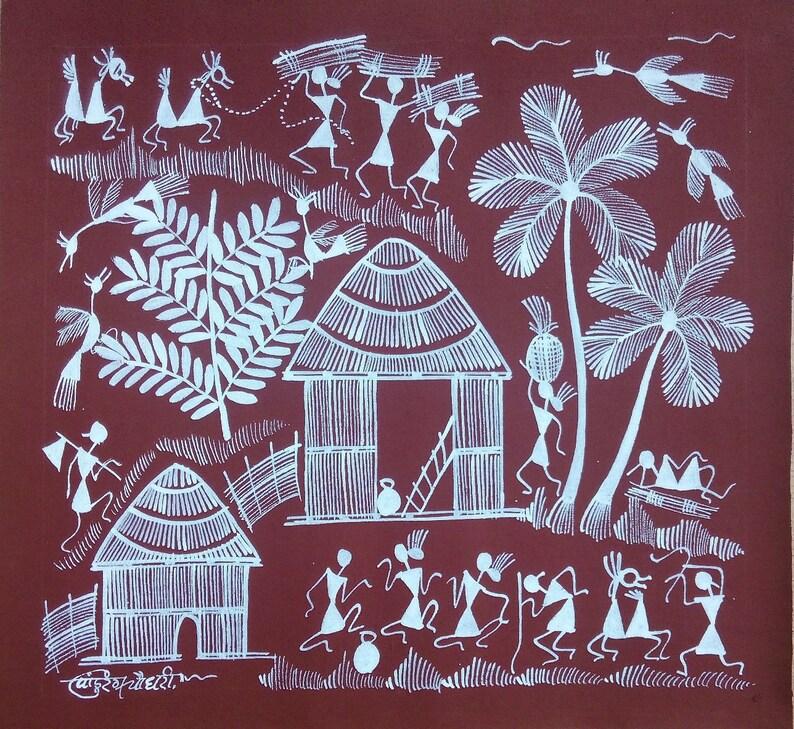 Warli Painting Warli Art Folk Art Tribal Painting Indian Etsy