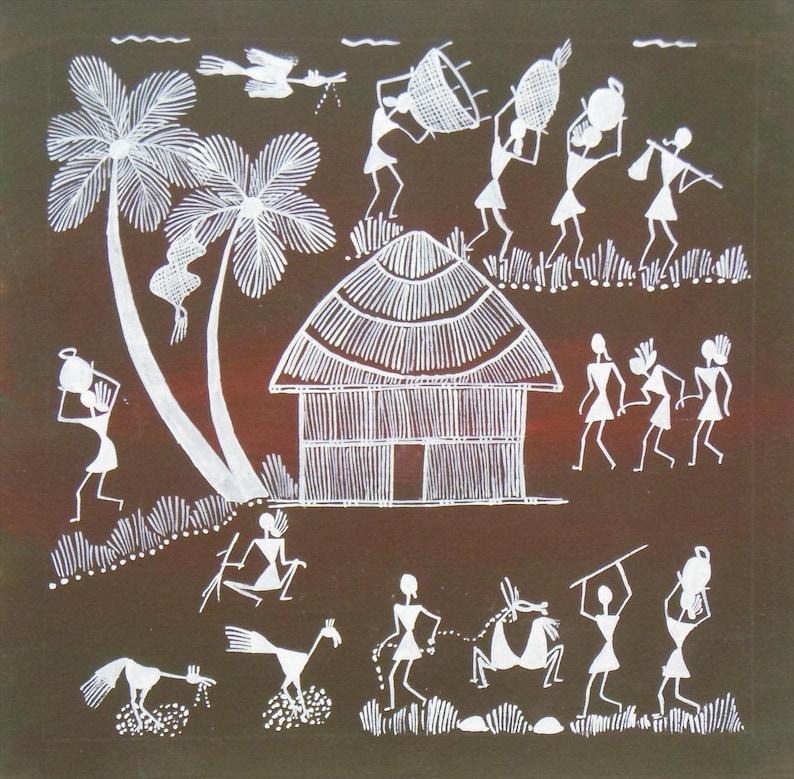 Village Life Warli Art Warli Painting Indian Tribal Art Etsy