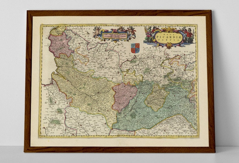 Map Of Saint Quentin France.Picardie Old Map Print Of France Picardy Saint Quentin Chantilly Soissons Senlis Laon Compiegne Noyon Abbeville