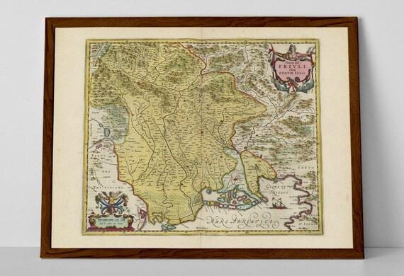 Friuli Venezia Giulia Old Map Print Of Italy Pordenone Etsy