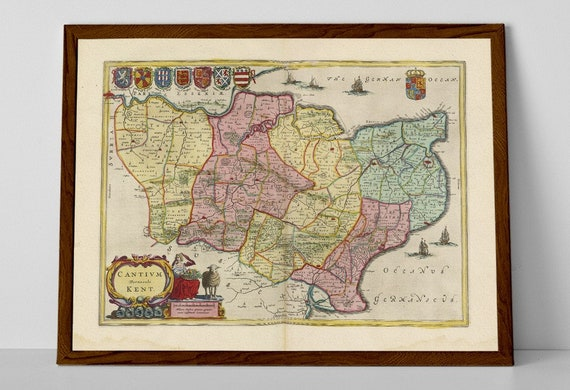 East Sussex Kent Old Map Print Of England Maidstone Etsy